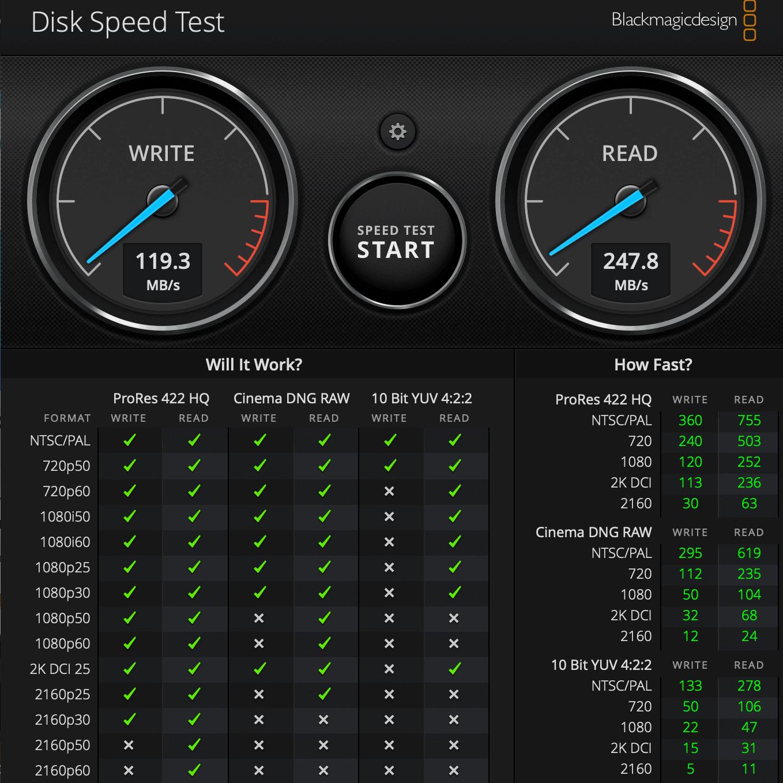 Wynik w programie Disk Speed Test
